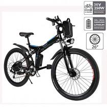 cooshional Bicicleta Eléctrica Plegable de Montaña con la Batería de Iones de Litio negra