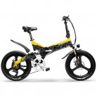 LANKELEISI G650 Bicicleta eléctrica Plegable de 20 Pulgadas 400W 48V negro amarillo