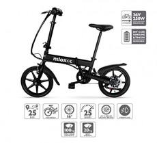 Nilox E Bike 36 V 16 P-X2 Bicicleta Eléctrica, Unisex Adulto, Negro, 58 x 170 x 98