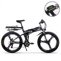 RICH BIT Bicicleta de Montaña Eléctrica, Unisex Adulto, Urbana EBIKE-26 negra