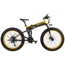 LANKELEISI T750Plus 27 velocidades 1000W Bicicleta Eléctrica Plegable 26 * 4.0 amarillo