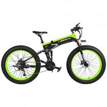 LANKELEISI T750Plus 27 velocidades 1000W Bicicleta Eléctrica Plegable 26 * 4.0 verde