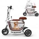 WLY Bicicleta eléctrica Plegable de Tres Ruedas para Adultos Mayores blanca